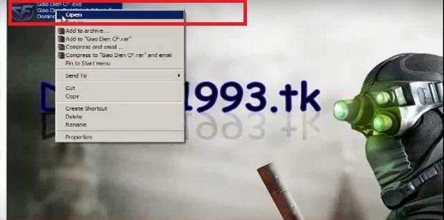 Nhấn vào giao diện CF rồi chọn Open -> Run
